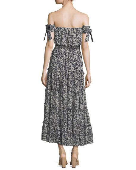 Anais Off-the-Shoulder Floral-Print Chiffon Maxi Dress
