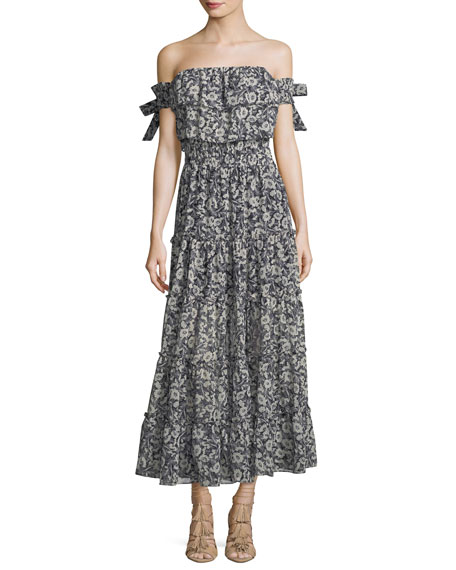 MISA Los Angeles Anais Off-the-Shoulder Floral-Print Chiffon Maxi