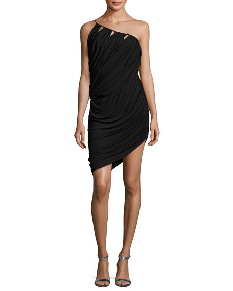 Halston Heritage One-Shoulder Asymmetric Draped Jersey Short