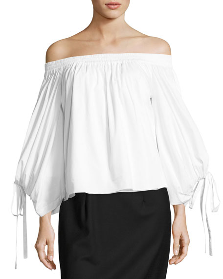 MISA Los Angeles Adeli Off-the-Shoulder Wide-Sleeves Poplin Top
