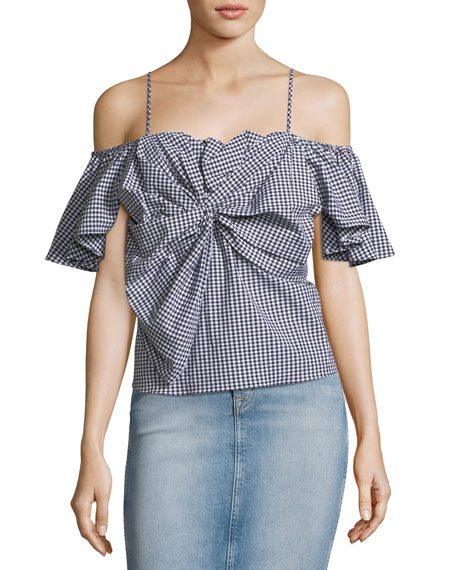 MISA Los Angeles Gaelle Cold-Shoulder Gingham Poplin Top