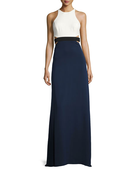 Halston Heritage Sleeveless High-Neck Colorblocked Gown w/