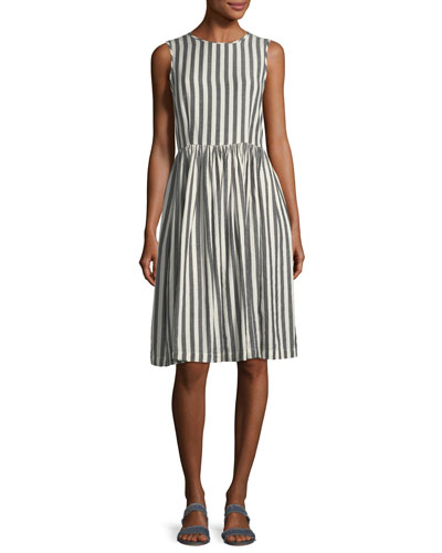 The Prairie Striped Sleeveless Cotton Dress