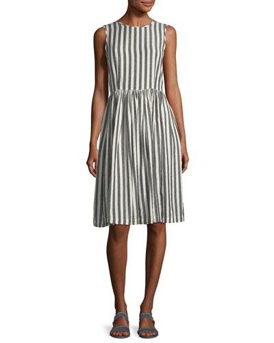 The Prairie Striped Sleeveless Cotton Dress