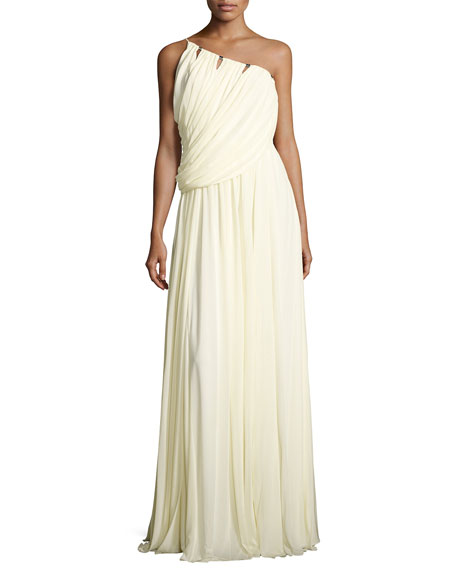 Halston Heritage Sleeveless One-Shoulder Draped Jersey Gown,