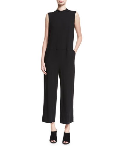 Sleeveless Mock-Neck Jersey Jumpsuit, Plus Size
