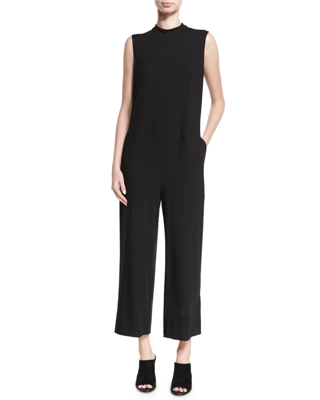 14409444f34ac Eileen Fisher Plus Size Sleeveless Mock-Neck Jersey Jumpsuit ...