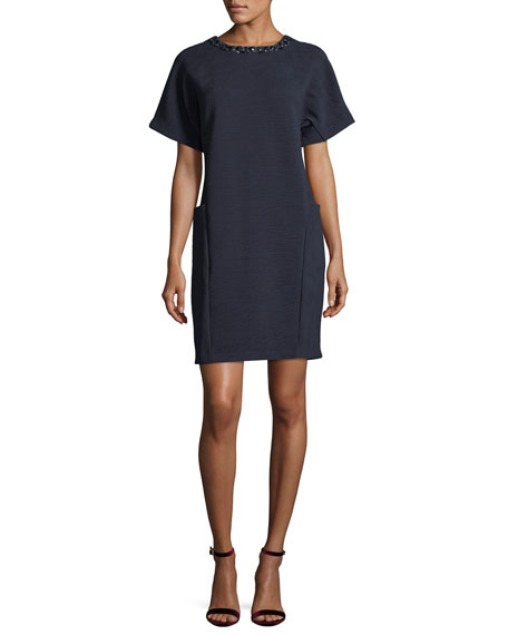 Joan Vass Embellished Ottoman Shift Dress