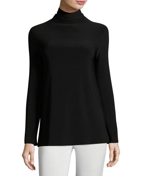 Norma Kamali Long-Sleeve Turtleneck Jersey Top