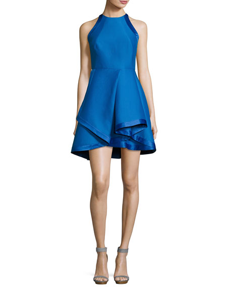 Halston Heritage Sleeveless High-Neck Structured Cocktail Dress,