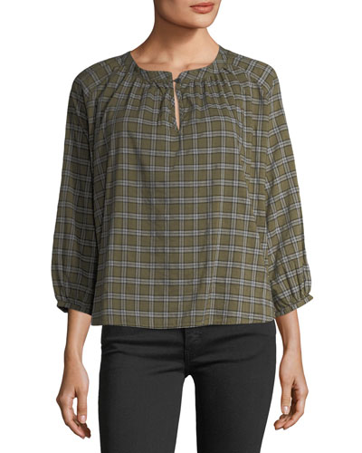 The Wildflower Plaid Cotton Top