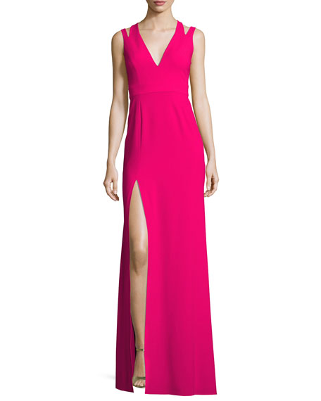 Sleeveless Deep V-Neck Crepe Gown