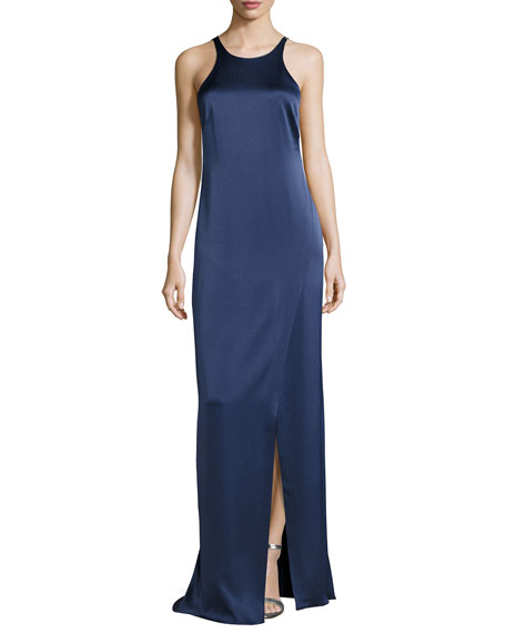 Halston Heritage Sleeveless Jewel-Neck Strappy-Back Satin Gown,