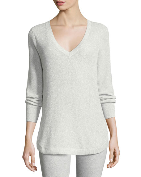 Joan Vass V-Neck Lurex Sweater, Plus Size and