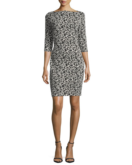 Joan Vass Audrey Floral Jacquard Sheath Dress, Plus