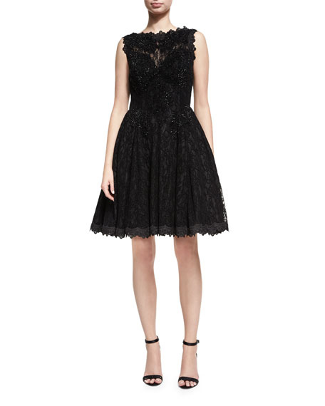 Jovani Sleeveless Lace Velvet Fit-and-Flare Cocktail Dress, Black