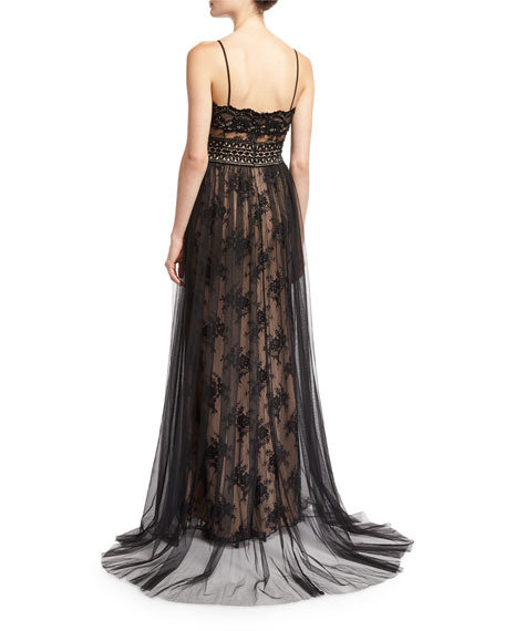 Sleeveless Lace Slip Sheer Overlay Gown, Black Nude