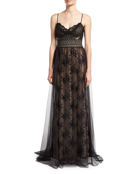 Jovani Sleeveless Lace Slip Sheer Overlay Gown, Black