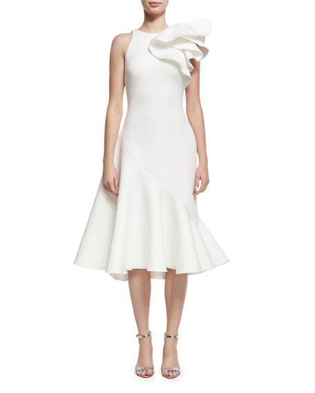 Jovani Full Skirt Neoprene Bow-Shoulder Cocktail Dress