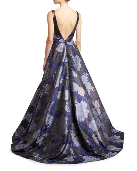 Floral Jacquard Metallic Deep V-Neck Gown