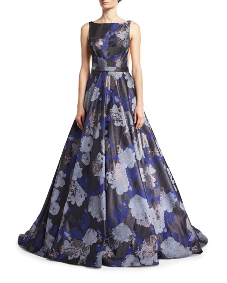 Floral Jacquard Metallic Deep V-Neck Gown