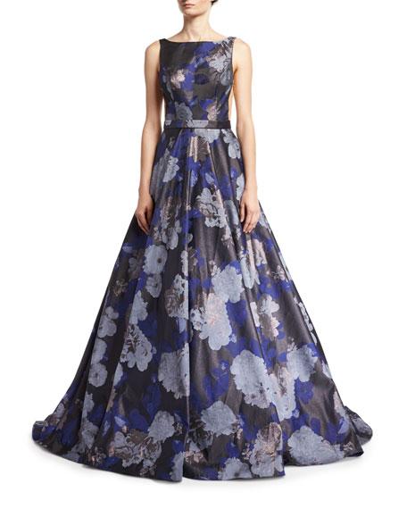 Jovani Floral Jacquard Metallic Deep V-Neck Gown