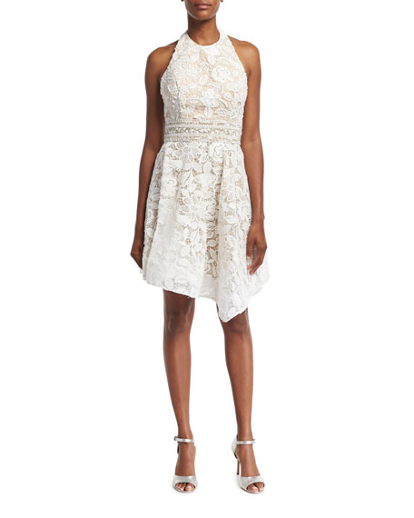 Jovani Lace Halter Asymmetric-Hem Cocktail Dress