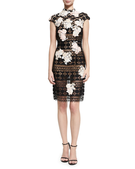 Jovani Cap-Sleeve Lace Floral-Embroidered Cocktail Dress