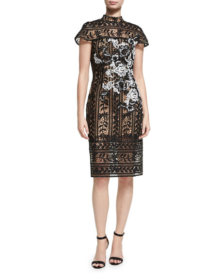 Jovani Cap-Sleeve Lace Floral Cocktail Sheath Dress
