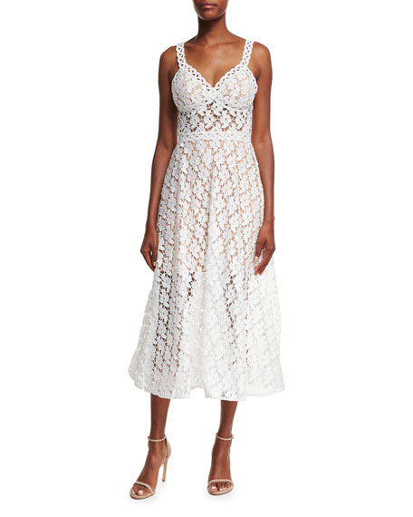 Jovani Sleeveless A-Line Lace Midi Dress