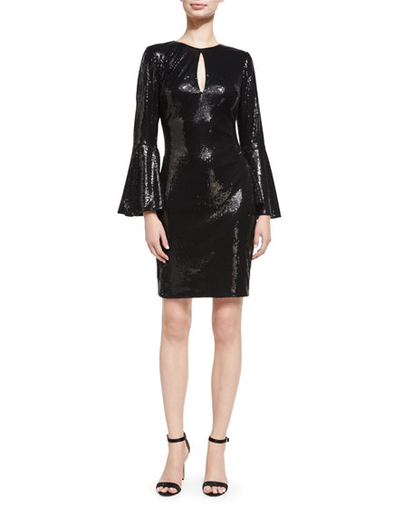 Trumpet-Sleeve Sequin Cocktail Sheath Dress, Black