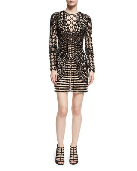 Jovani Long-Sleeve Spider Beaded Sheath Dress, Black Nude