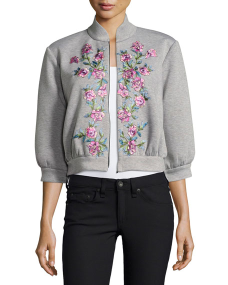 Jovani Floral Embroidered Bomber Jacket