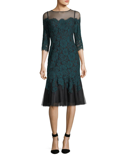 Elbow-Sleeve Lace Cocktail Dress W/ Flounce Hem