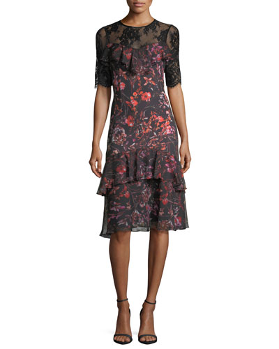 Tiered Lace-Yoke Floral-Printed Midi Cocktail Dress