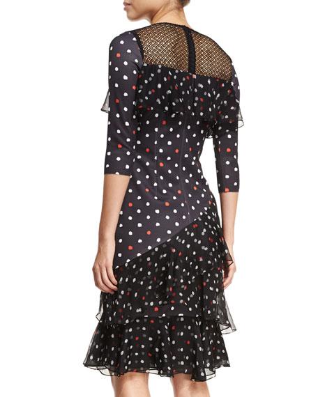Three-Quarter Sleeve Dot Scuba Ruffled Cocktail Dress
