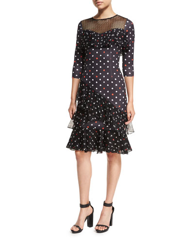Three-Quarter Sleeve Dot Scuba Ruffled Cocktail Dress