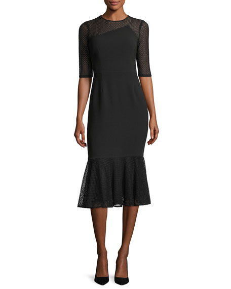 Three-Quarter Sleeve Jewel-Neck Crepe Sheath Dress