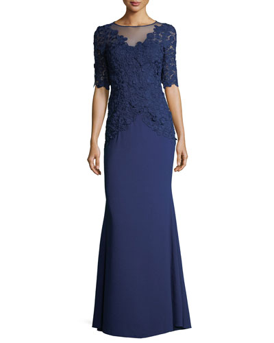 Elbow-Sleeve Lace Mermaid Evening Gown