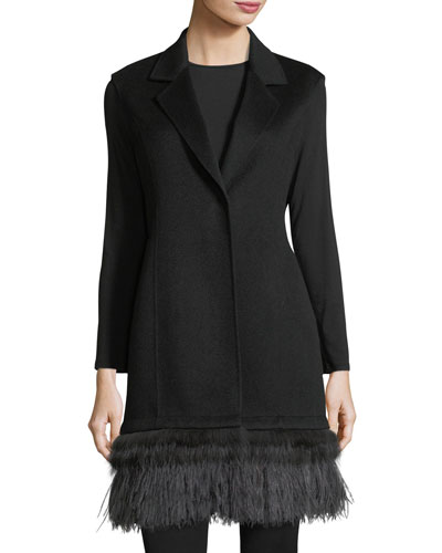 Double-Face Cashmere Vest w/ Fox Fur & Ostrich Feather Trim