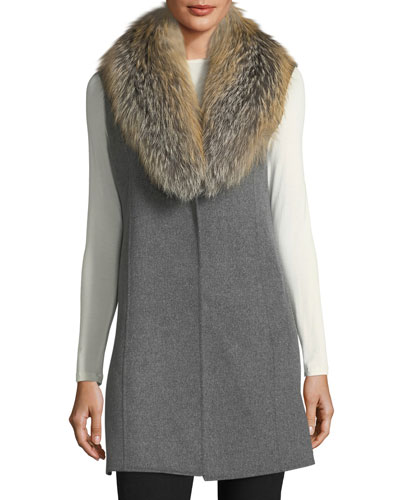 Double-Faced Cashmere Vest w/ Fox Fur Collar