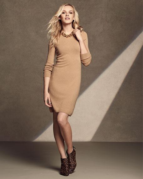 Long-Sleeve Crewneck Cashmere Dress