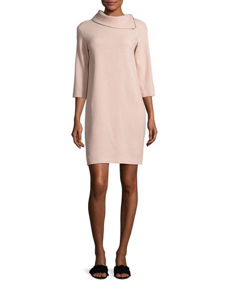 3/4-Sleeve Zip-Collar Wool Shift Dress