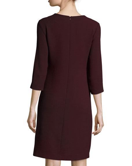 3/4-Sleeve Notched Wool Crepe Dress