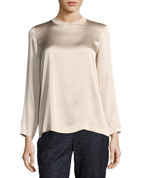 Long-Sleeve Knit-Trim Silk Blouse