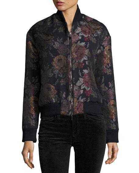 Floral Jacquard Bomber Jacket