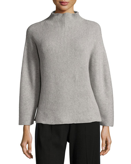 Ribbed Funnel-Neck Wool-Blend Sweater