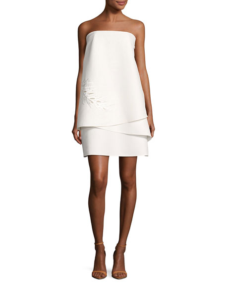 Halston Heritage Strapless Tiered Embellished Cocktail Dress