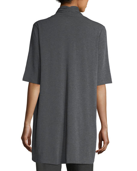 Long Lightweight Stretch-Jersey Cardigan, Petite