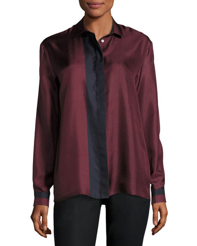 Long-Sleeve Button-Front Colorblocked Silk Blouse